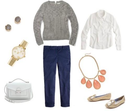 JCrew Dot Capri Outfit