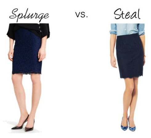 Splurge vs. Steal - Navy Lace Pencil Skirt