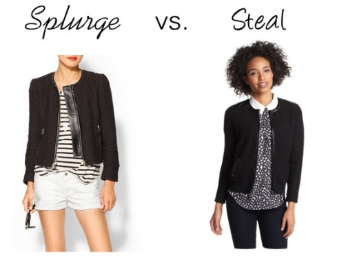 Splurge vs. Steal - Boucle & Leather Jacket