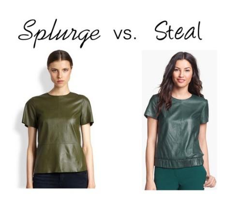 Splurge vs. Steal - Green Leather Top
