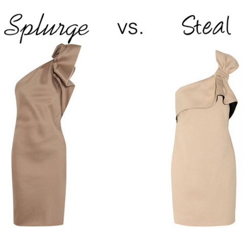 splurge vs. steal nude bow dress