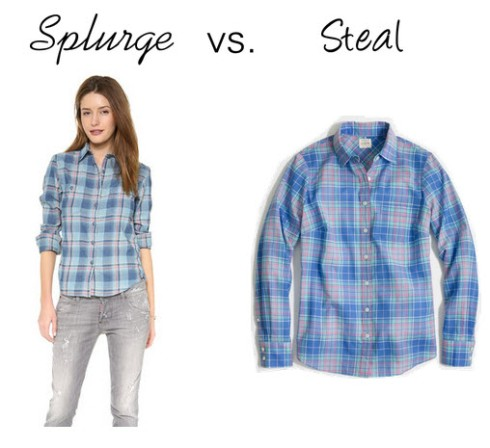 Splurge vs. Steal - blue checked shirt