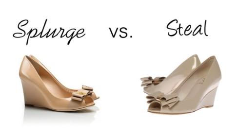 Splurge vs. Steal - bow wedges