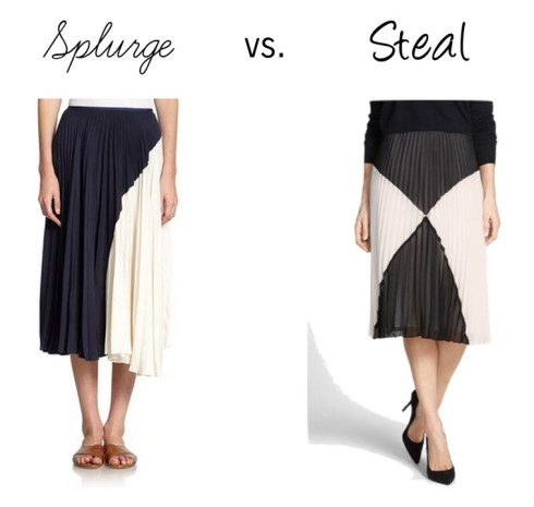 Splurge vs. Steal pleated skirt