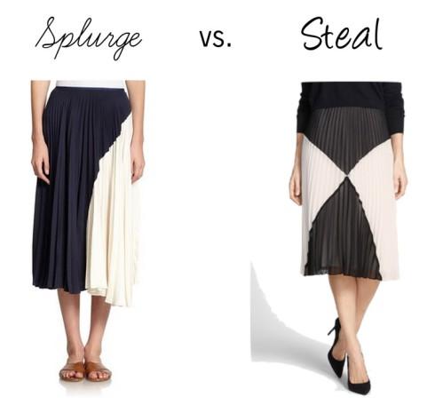 Splurge vs. Steal pleated skirt