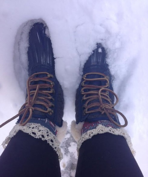 bean boots in snow