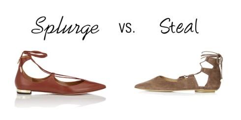 splurge  vs. steal laceup flat